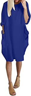 Oversize Short Long Sleeve Tunic Dresses Plus Size Baggy Midi Tshirt Dress with Pockets for Women