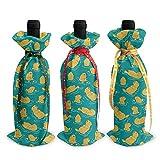 3 Stück lustige niedliche Otter Babyflaschen-Taschen – Weinflaschen-Beutel für Weihnachts-Party-Dekorationen