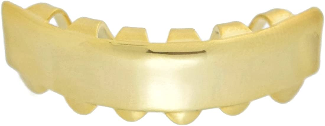 14K Gold Plated Grillz Bottom Bar Grills Six Lower Row Teeth Plain Hip Hop Mouth Grill