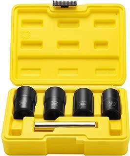 Topec Twist Socket Set Lug Nut Remover Extractor Tool - 5 Piece Metric Bolt and Lug Nut Extractor Socket Tools