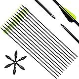 Narchery Pfeile Carbon, 31 Zoll Bogenpfeile für Bogenschießen mit...