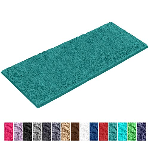 LuxUrux Chenille Bathroom Rug Mat Runner (47'' x 27''), Extra Soft Absorbent Large Shaggy Rugs, Perfect Plush Carpet Mats Tub, Shower Bath Room, Machine Wash/Dry (Turquoise, 27'' x 47'')