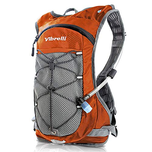 Vibrelli VHB-006-ORNGE Hydration Backpack & 2L Hydration Bladder - High Flow Bite Valve - Hydration Pack for Cycling, Running, Hiking, Orange