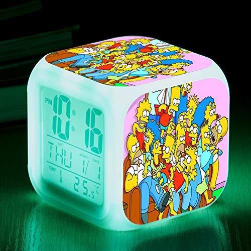 HHIAK666 Reloj Cuadrado Lindo De Dibujos Animados De Anime, Reloj Despertador Digital Luminoso LED De 7 Colores, Niños, Reloj Despertador Multifuncional 8Cm 3