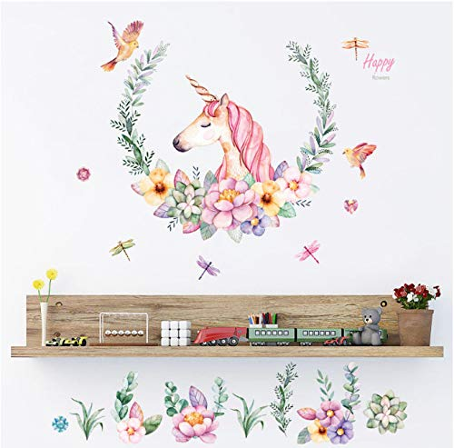 hfwh muurstickers, Babelin potloden Unicorn sticker Bedroom Living Room Sofa achtergrond decoratief scherm PVC verwijderbare muur 60 x 90 cm