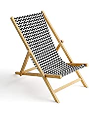 Ferocity Houten ligstoel, inklapbaar, zonnebed, strandstoel, wisselovertrek, motief [119]