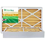 FilterBuy 16x25x4 MERV 11 Pleated AC Furnace Air Filter, (Pack of 2 Filters), 16x25x4 – Gold