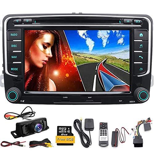 Radio para Coche (Compatible con Volkswagen, Skoda, Seat), Incluye Reproductor de DVD navegación por GPS y Software NAVI Bluetooth Pantalla táctil de 7 Pulgadas SD USB subwoofer DIN Doble