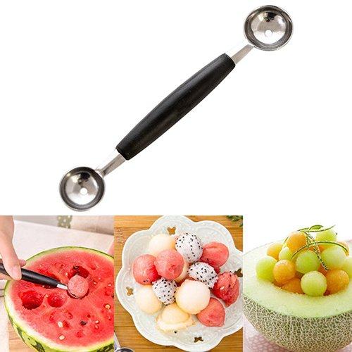 Brussels08 Cuillère à glace double extrémité en acier inoxydable durable pour melon, crème glacée, melon, fruits, pastèque, dessert, pâte à cookies, gâteaux, pops