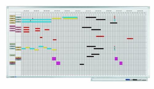 Legamaster 7-404300 Professional Jahresplaner mit 5-Tage-Woche, emailliertes, leichtes Whiteboard bedruckt mit Kalenderraster, 100 x 150 cm