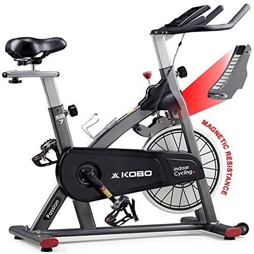 Kobo SB-7 Magnetic Resistance with 8 Kg Flywheel Belt Drive Advanced Indoor Spin Bike for Home Cardio Gym Workout Quiet Smooth Spinning Cycling Fitness