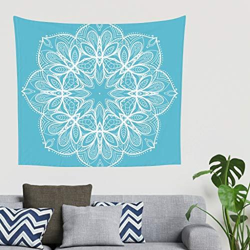 Dofeely blauwe mandala tapijt, wit