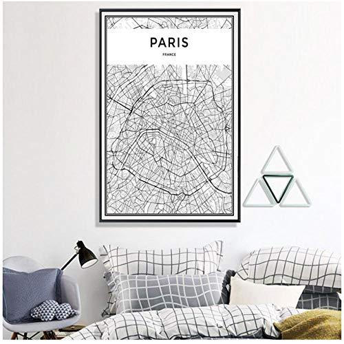 Parijs City Map Canvas Schilderijen Zwart en Wit Posters Prints Muurkunst Foto's voor Woonkamer Home Decor -50x70cm(geen Frame)