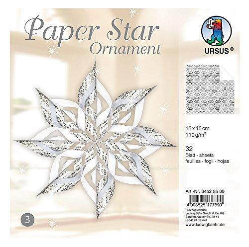 Ursus 34525500 - Paper Star Ornament 3, 4 Sterne, ca. 40 x 40 cm, silber