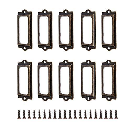 YMDZ 50 szt. stojaki na etykiety półka na talerze Apothecary szafka szuflada lub biblioteka biurowa półki półki na książki antyczny brąz metal uchwyty do przechowywania (z śrubami)