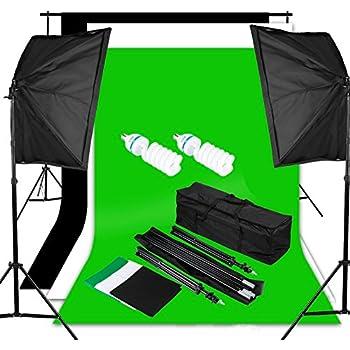 Excelvan Photography Video Studio Lighting Kit 1250W Soft Box W/3 Background Backdrop White Black Green 10x6.5FT Light Stand