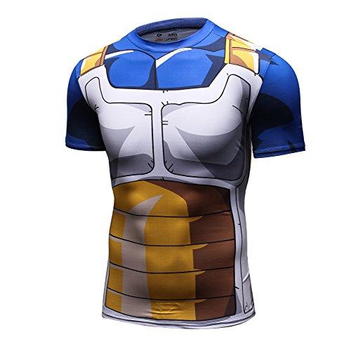 Dragon Ball Z Hombre–Camiseta de entrenamiento para fitness, compresión Camiseta Fit 3d Gráficos Sport Tank Top, Vegeta #1