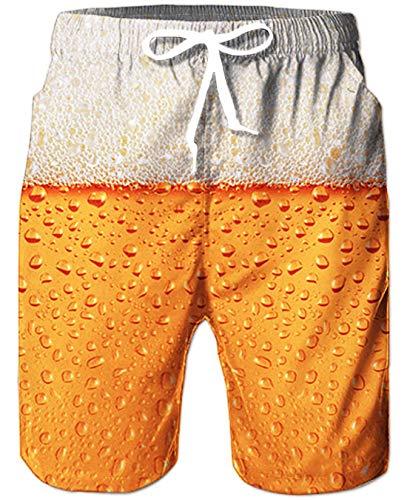 Goodstoworld Herren Badehose Bermudas Funky Freizeit Bier Gold Beer 3D Druck Schwimmhosen Sporthose Strandhose für Beach Hawaiian Schwimmen Gym Jogging Shorts XXL
