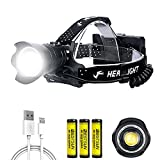 Linterna Frontal LED Recargable, Alta Potencia 15000 Lúmenes XHP90.2 Luz Frontal con 3 Modos, Lámpara Frontal Impermeable para Caza, Pesca, Camping, 3x Pilas 18650 Incluidas