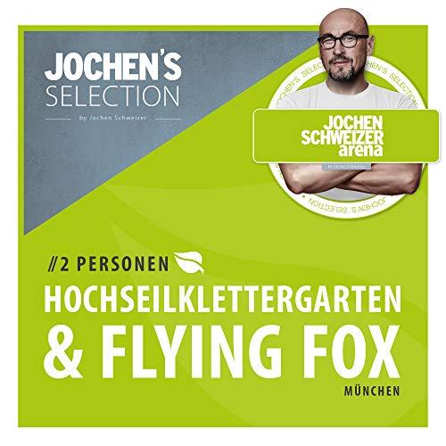 Jochen Schweizer Arena Hochseilklettergarten & Flying-Fox XL für 2 Personen I Erlebnis-Gutschein Hochseil-Klettergarten + Flying Fox XL Parcours I Geschenk-Box Hochseilgarten + Flying Fox