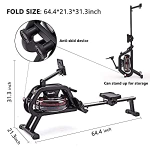 HouseFit Water Rower Rowing Machine with Bluetooth APP 330Lbs Weight Capacity for Home use Water Resistance Row Machine Exercise Equipment with iPad and Phone Support LCD Digital Monitor