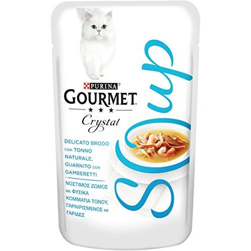 PURINA GOURMET NATURE'S CREATIONS Soup Soup Gatto Delicato Brodo con Tonno Naturale, Guarnito con Gamberetti, 32 Buste da 40 g Ciacuna, Confezione da 32 x 40 g