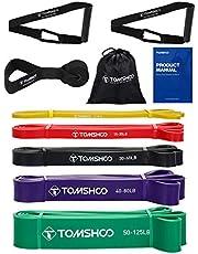 TOMSHOO Resistance Loop Bands, 5 STKS Latex Huidvriendelijke Pull Up Assist Bands Set voor CrossFit, Stretch, Powerlifting, Gym, Home, Yoga, Krachttraining, Workout Bands voor vrouwen en mannen