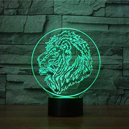 3D Lion Head Model 7 Color Changing LED NightLight Children Bedroom Lighting Lamp Kids Holiday Gifts for Home Decor