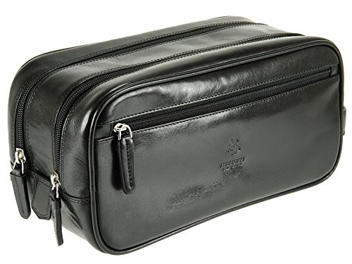 Visconti-Beauty case da uomo, in pelle, stile italiano-Sacchetto bagnato MZ100 Naples-Pack, nero (Marrone) - Monza Naples MZ100