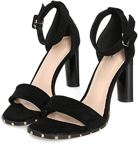HBDLH Chaussures pour Femmes Les Boucles D'épaisseur des Sandales Sexy en été Bien du Daim 9Cm des Chaussures à Talons Hauts Les Orteils.