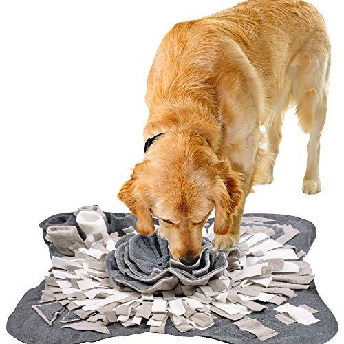 IEUUMLER Schnüffelteppich für Hunde Riechen Trainieren Intelligenzspielzeug Futtermatte Trainingsmatte für Haustier Hunde Katzen IE081 (71x71cm, Grey & White)
