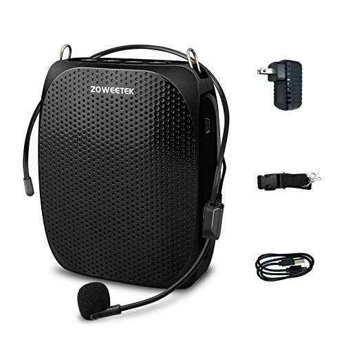 ZOWEETEK Voice Amplifier for teaching,Voice Amplifier Microphone Headset,Portable Voice Amplifier for Teachers,Coaches,Training,Presentation,Meeting,Tour Guide,Church,Singing,Supports MP3 Format Audio