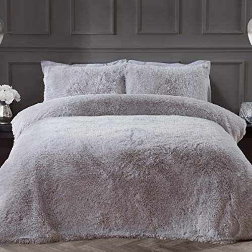 Sleepdown Fleece Long Pile Faux Fur Silver Super Soft Easy Care Duvet Cover Quilt Bedding Set with Pillowcase - Single (135cm x 200cm)