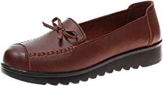 〓COOlCCI〓Women's Leather Casual Loafers Driving Moccasin Flats Slip-On Slipper Shoes Ballet Flats Boat Shoes Single Shoes