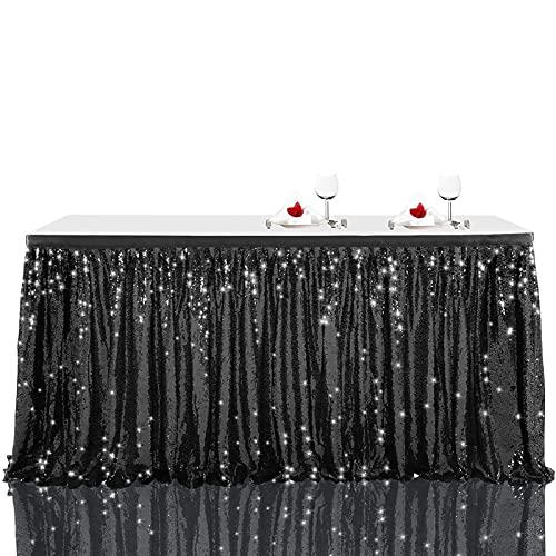 KUYUC Falda de Mesa Poliéster, Lentejuela Faldones de Mesa, Tabla de tutú para Mesas Rectangulares, Manteles Decoración para Bodas Cumpleaños Candelabros Navidad (Color : Black, Size : 275cm(9ft))