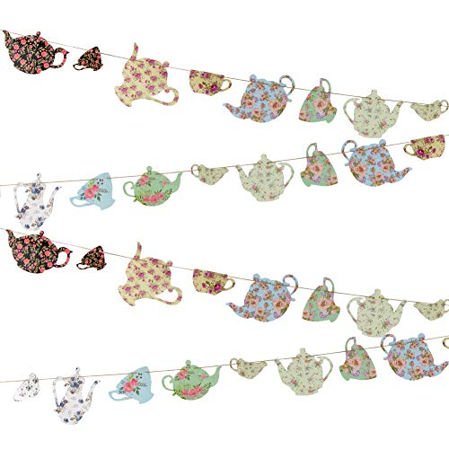 SUNBEAUTY Tea Party Bunting Banner Decorations Tea Cup Vintage Banner Garland for Girls Party Birthday Day Baby Shower Wedding Mother's Day Party Decorations