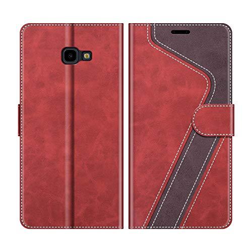 MOBESV Handyhülle für Samsung Galaxy J4 Plus Hülle Leder, Samsung Galaxy J4 Plus Klapphülle Handytasche Case für Samsung Galaxy J4 Plus Handy Hüllen, Modisch Rot