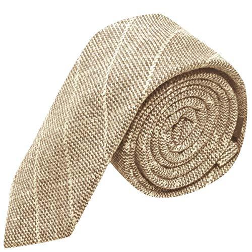 Elegante Corbata A Cuadros Beis En Tela Birdseye Premium