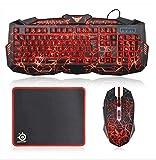 Gaming keyboard and Mouse Set UK Layout 3 Colors LED Backlit Keyboard