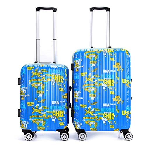 Premium Rotating World Map Print Hardshell 2-delige spinnerbagage in doos voor vrouwen 20in 24in bagage koffer koffer carry-on Uprights koffer 360 ° Silent Spinner multidirectionele wielen