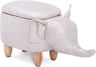 Yosooo Multi-Functional PU Leather Storage Stool Animal Shape Ottoman Foot Rest Stool, Storage Footrest Stool/Padded Seat, Perfect for Gift (Elephant Shape)