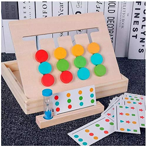 4 Color Puzzle Game for Children | Wooden Toys Color Shape Sorting Logic Games | Juguetes Tablero Juego de Madera Puzzles Infantiles con Tarjetas de Patrón y Disco de Color Juguete (A)