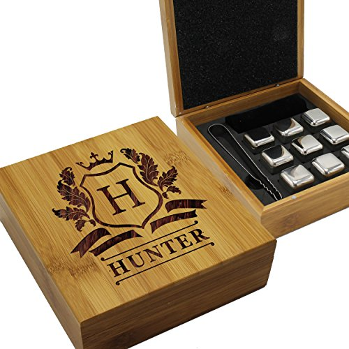 Personalized Whiskey Stone Gift Set - Custom Engraved Drink Stones Box