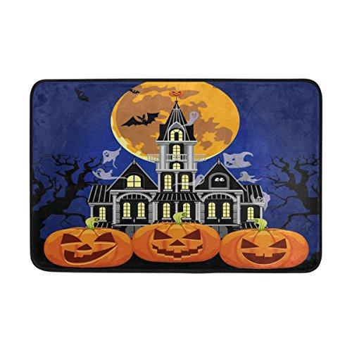 Use7 Halloween Ghost Batte de Château de Lune d'entrée Paillasson Intérieur Extérieur Tapis de Sol de Salle de Bain 59,9 x 39,9 cm