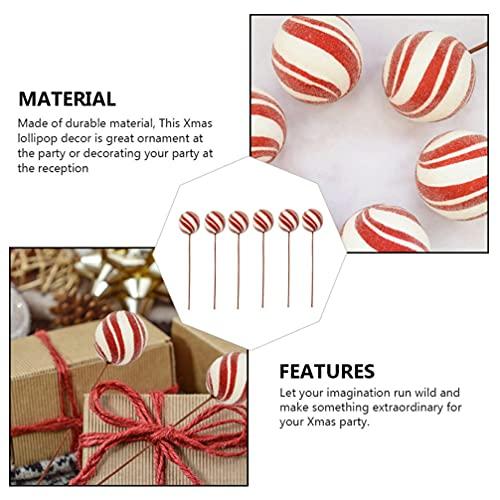 IMIKEYA 6 Piezas de Decoraciones de Piruletas de Navidad Grandes Adornos de Caramelo Falso Artificial de Navidad Rama Tallos Acebo Espray Floral Selecciones Fotográficas Festivas