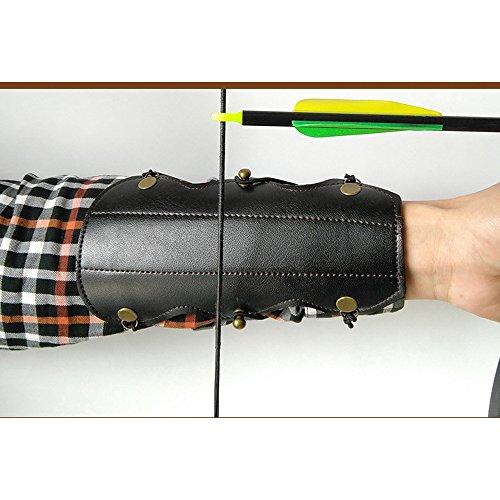 Protector de brazo con arco y flecha de protección segura con correa elástica de cuero para el antebrazo de caza al aire libre