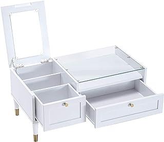 タンスのゲン ドレッサー テーブル 幅90cm ガラス天板 引出し 収納 大容量 コスメボックス ミラー かわいい ホワイト 72400000 01