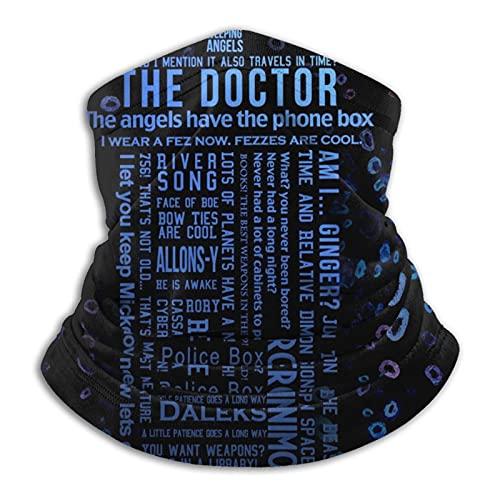 Doctor Who The Edge Of Time - Bandana unisex para la cabeza al aire libre, bufanda con protección UV, pasamontañas y polvo, resistente al viento, polainas para el cuello multifuncionales
