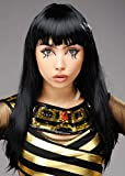 Magic Box Peluca Estilo Cleopatra Negra Larga para Mujer