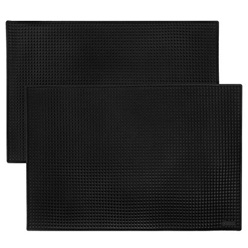 18 x 12 Black Bar Mats 2-pack - Professional Bartenders Non-Slip Drink Cocktail Mixing Service Mat - Accessories for Industrial Home Kitchen Bartops Coffee Bars Food Trucks Restaurants
